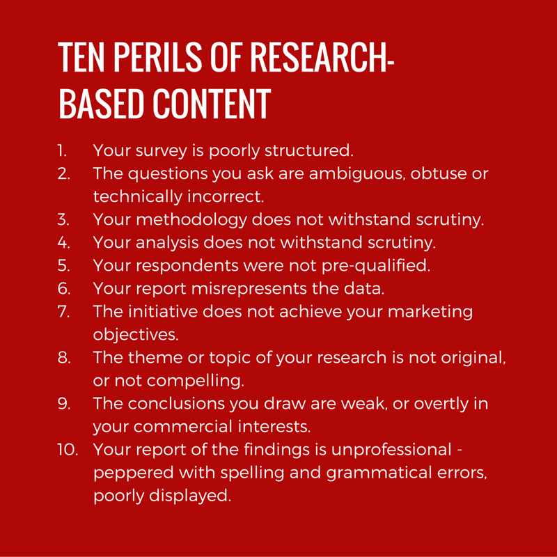 Here are ten ways you could expose the weakness of your research-based content